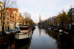 Western Church and Canal in Amsterdam
