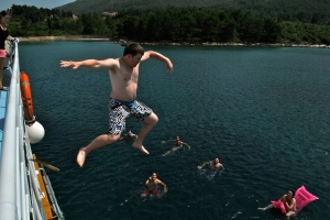 David Jumping Into Water in Croatia